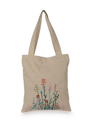 Multicolored Hand Embroidered Cotton Tote Bag