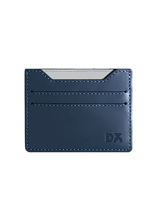 Blue Handcrafted Vegan Leather Card Case