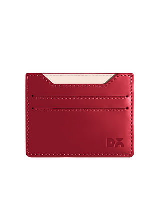 Red Handcrafted Vegan Leather Card Case