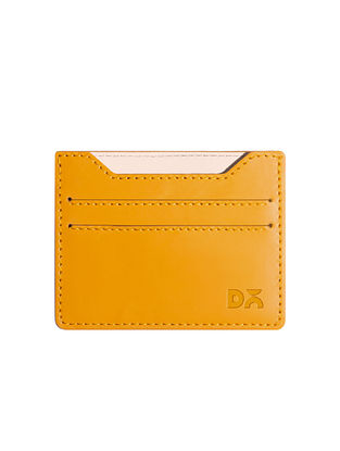 Yellow Handcrafted Vegan Leather Card Case