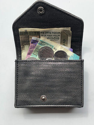 Black Handcrafted Faux Leather Card Case