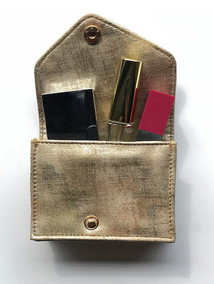 Gold Handcrafted Faux Leather Card Case
