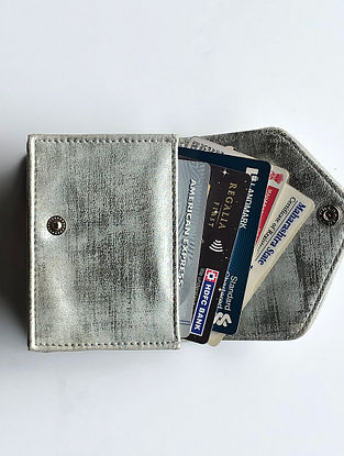 Silver Handcrafted Faux Leather Card Case