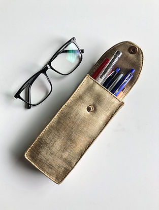 Gold Handcrafted Faux Leather Spectacle Case