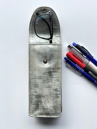 Silver Handcrafted Faux Leather Spectacle Case