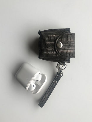 Black Handcrafted Faux Leather Earphone Case