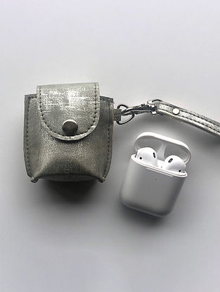 Silver Handcrafted Faux Leather Earphone Case