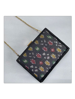 Black Handcrafted Ikat Silk Clutch