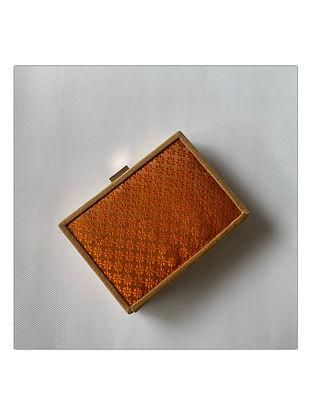 Orange Handcrafted Brocade Silk Clutch
