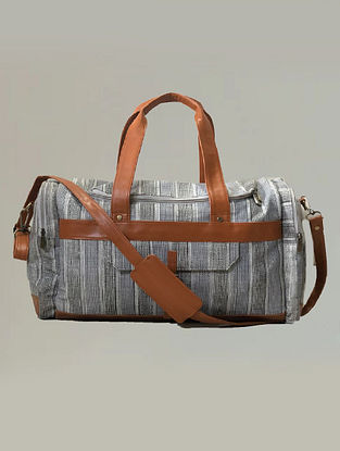 Grey White Handcrafted Canvas Faux Leather Luggage Bag