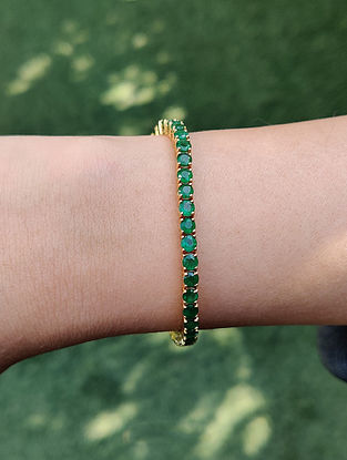Green Gold Tennis Bracelet with Emerald