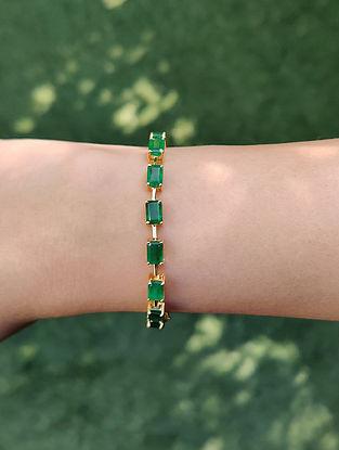 Green Gold Link Bracelet with Emerald