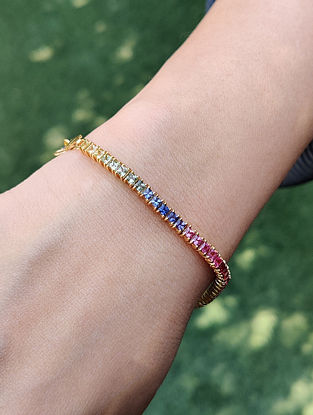 Gold Tennis Bracelet with Multisapphire