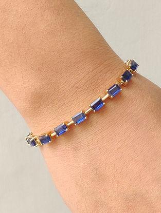 Blue Gold Link Bracelet with Kyanite
