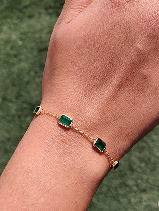 Green Gold Minimal Bracelet with Emerald