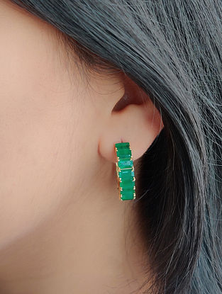 Green Gold Hoop Earrings with Emerald