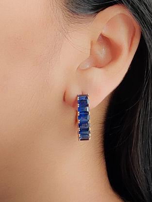 Blue Gold Hoop Earrings with Kyanite