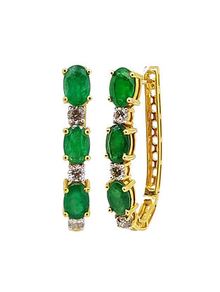 Green Gold Earrings with Emerald