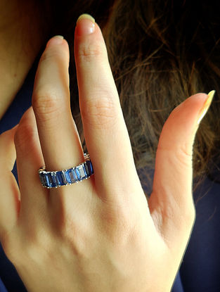 Blue Gold Infinity Ring with Kyanite