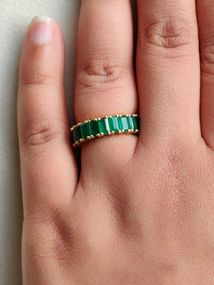 Green Gold Infinity Ring with Small Emerald