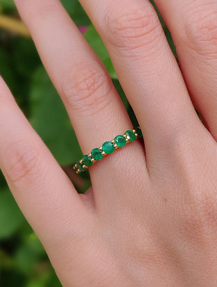 Green Gold Infinity Ring with Emerald