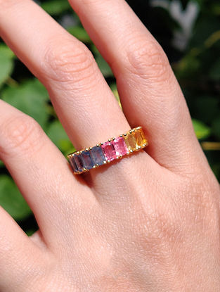 Gold Infinity Ring with Multisapphire