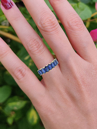 Blue Gold Infinity Ring with Small Kyanite