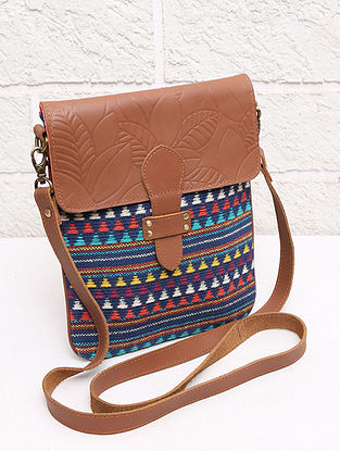 Multicolored Handcrafted Handloom Leather Sling Bag