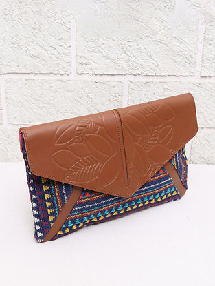 Multicolored Handcrafted Handloom Leather Clutch