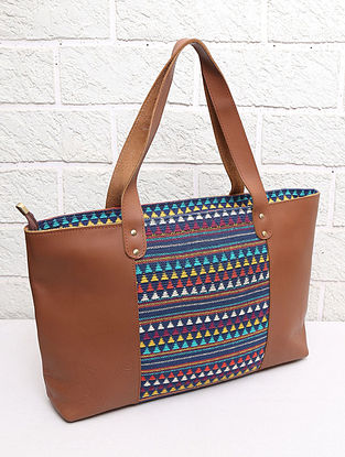 Multicolored Handcrafted Handloom Leather Tote Bag