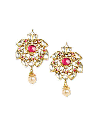 Pink Gold Tone Sterling Silver Earrings with Pearls