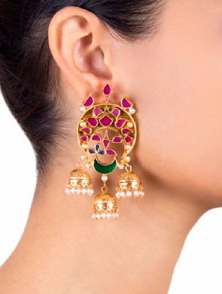 Pink Gold Tone Sterling Silver Jhumki Earrings with Pearls