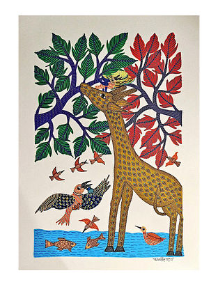 Multicolor Living in Harmony Gond Art On Paper (L-14in, W-10in)