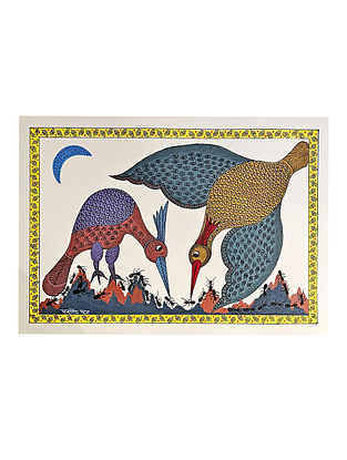 Multicolor The Ant Eaters Gond Art On Paper (L-10in, W-14in)