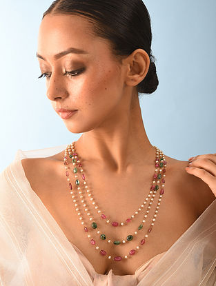 Gold Tourmaline Emerald Necklace With Natural Pearls