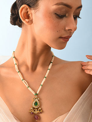 Gold Polki Emerald Necklace With Ruby And Natural Pearls