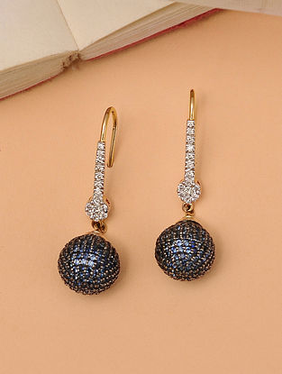 Gold Sapphire Earrings With Diamonds