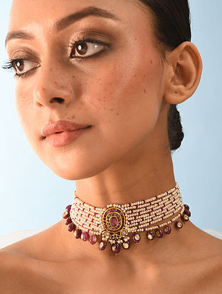 Gold Polki Choker Necklace With Ruby