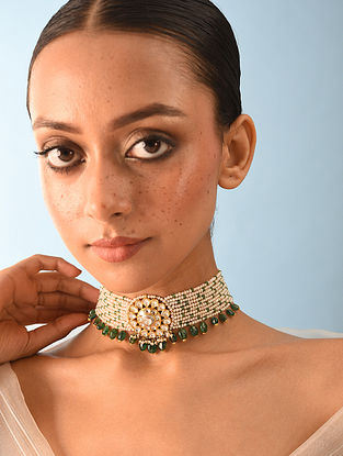Gold Polki Choker Necklace With Emerald And Natural Pearls