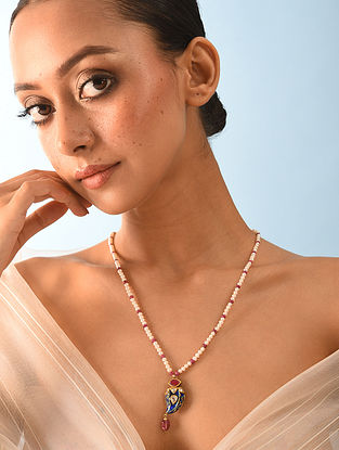 Gold Polki Tourmaline Necklace With Natural Pearls