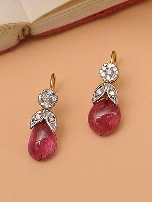 Gold Tourmaline  Earrings With Diamonds