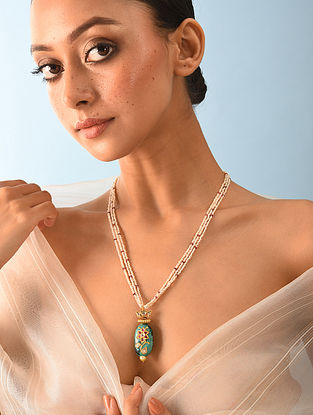 Gold Polki Turquoise Necklace With Ruby And Natural Pearls