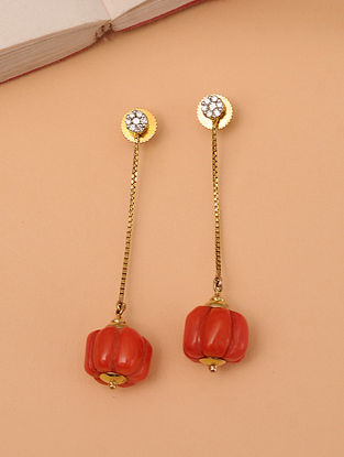 Gold Carved Earrings With Coral And Diamonds