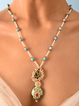 Gold Polki Turquoise Necklace With Ruby Emerald And Natural Pearls