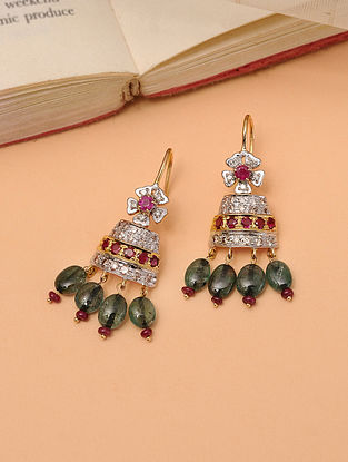 Gold Diamond Jhumki Earrings With Emerald And Ruby