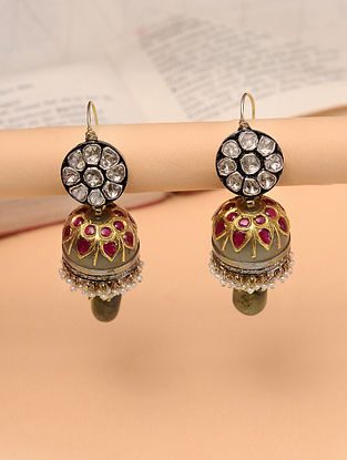 Gold Polki Jhumki Earrings With Jade And Natural Pearls