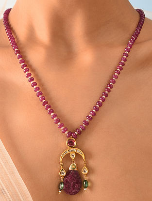 Gold Polki Carved Ruby Necklace With Emerald And Pearls