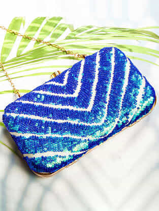 Blue Handcrafted Sequinned Silk Clutch