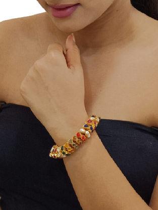 Gold Tone Sterling Silver Navratan Bracelet