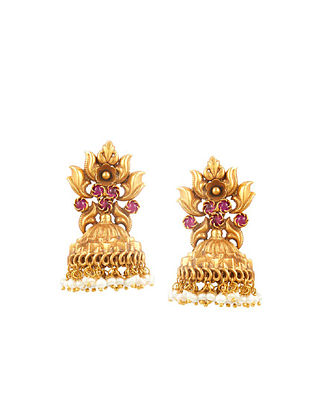 Gold Tone Sterling Silver Jhumki with Pearls